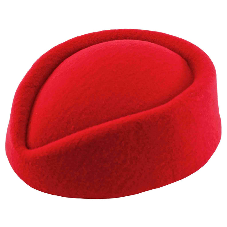 Image of red pillbox hat - side view