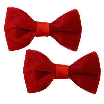 Image of two Hair Clips - Velvet - Red
