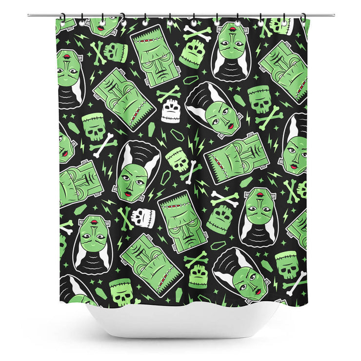 Image of mock up Monsters shower curtain in bathroom