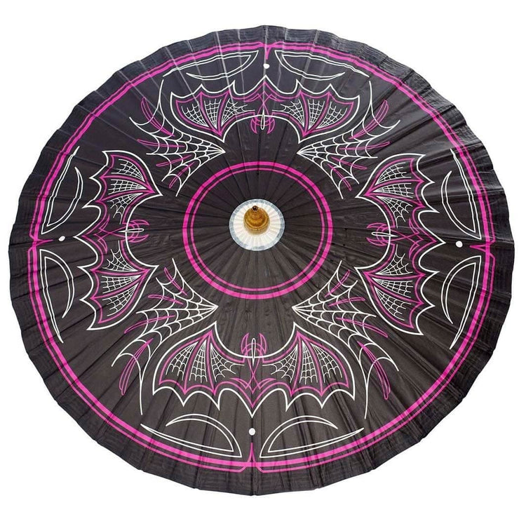 Image of Sourpuss Batty Pinstripe Gothic Parasol