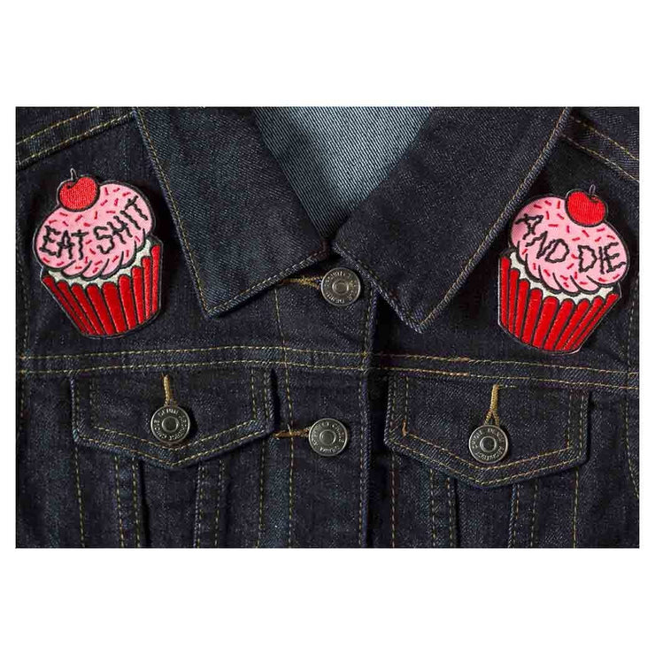 Image of Sourpuss Cupcake Iron On Patches (Set Of Two)