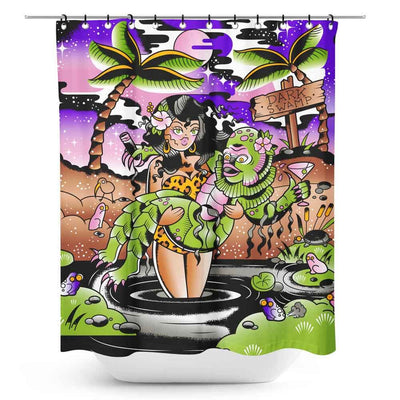Sourpuss Dark Swamp Retro Shower Curtain