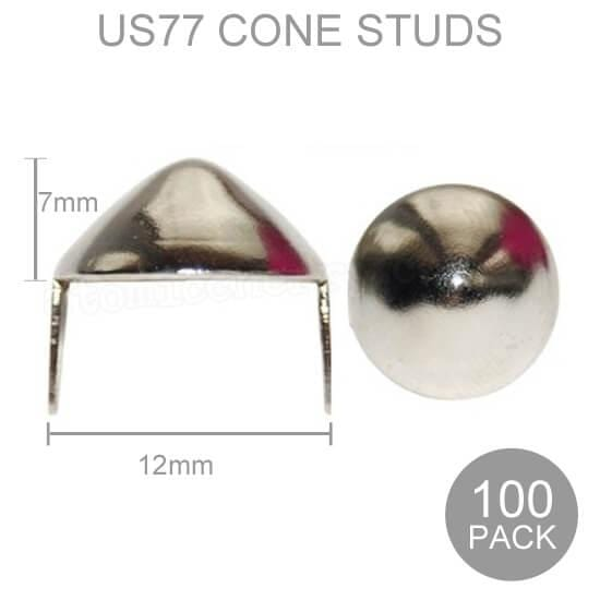 Image of 12mm Wide US77 Cone Studs - Silver (Pack of 100)