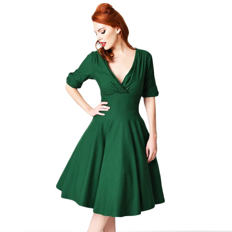 Unique Vintage Delores Dress - Green - front cropped