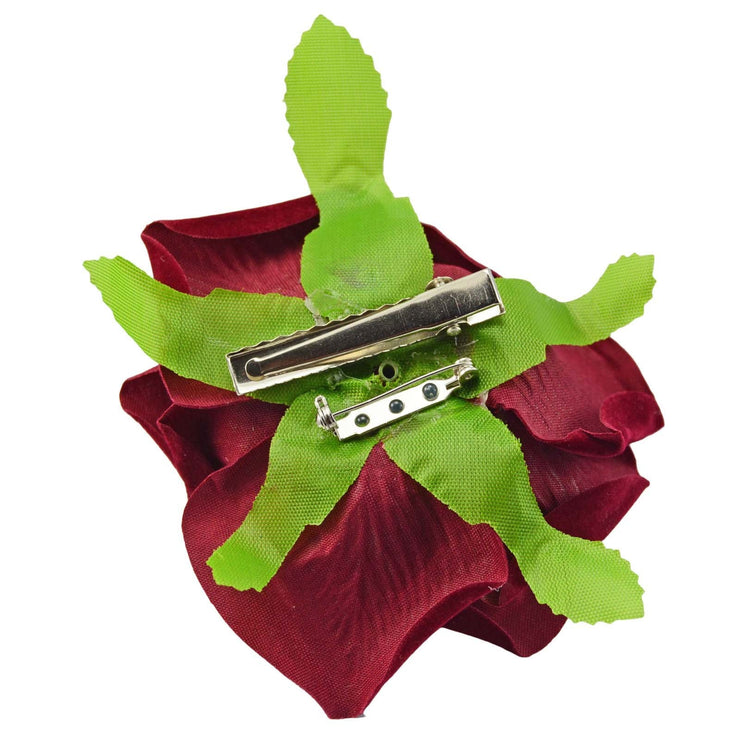 Image of Velvet Rose Flower Hair Clip/Brooch - Burgundy