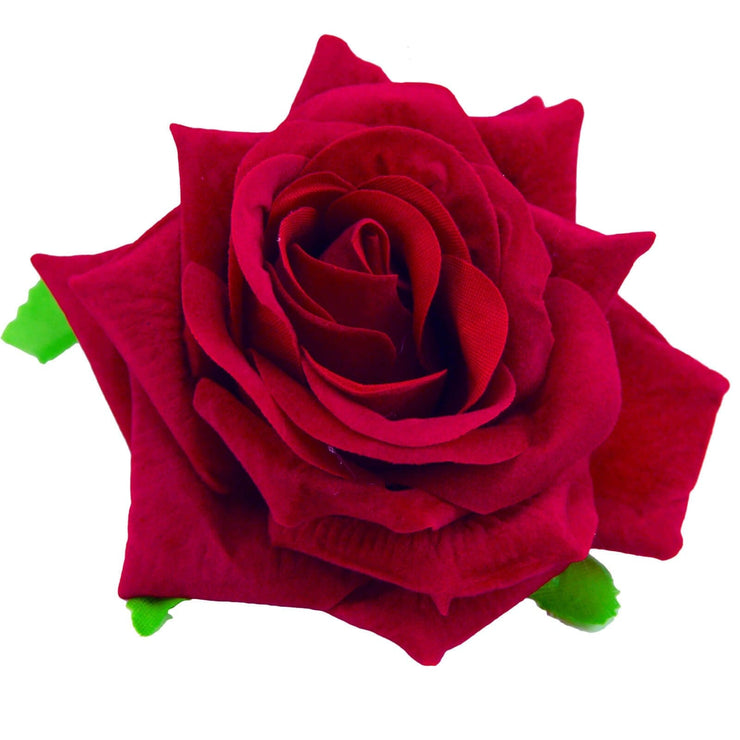 Image of Velvet Rose Flower Hair Clip/Brooch - Red
