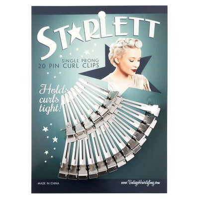 Image of Vintage Hairstyling Starlett Single Prong Pin Curl Hair Clips - Fine Hair (Pack of 20)