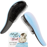 Vintage Hairstyling Miracle Hair Curl Brush - Blue - both sides