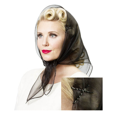 Image of model wearing Vintage Hairstyling Tidy Tresses Hair Scarf - Black