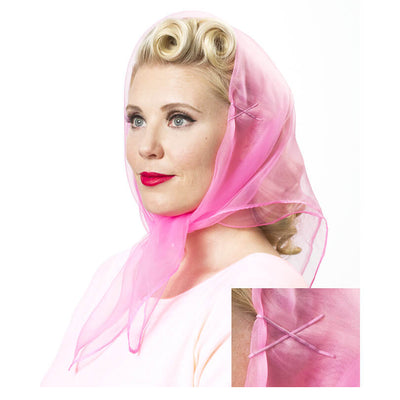 Image of model wearing Vintage Hairstyling Tidy Tresses Hair Scarf - Bright Pink