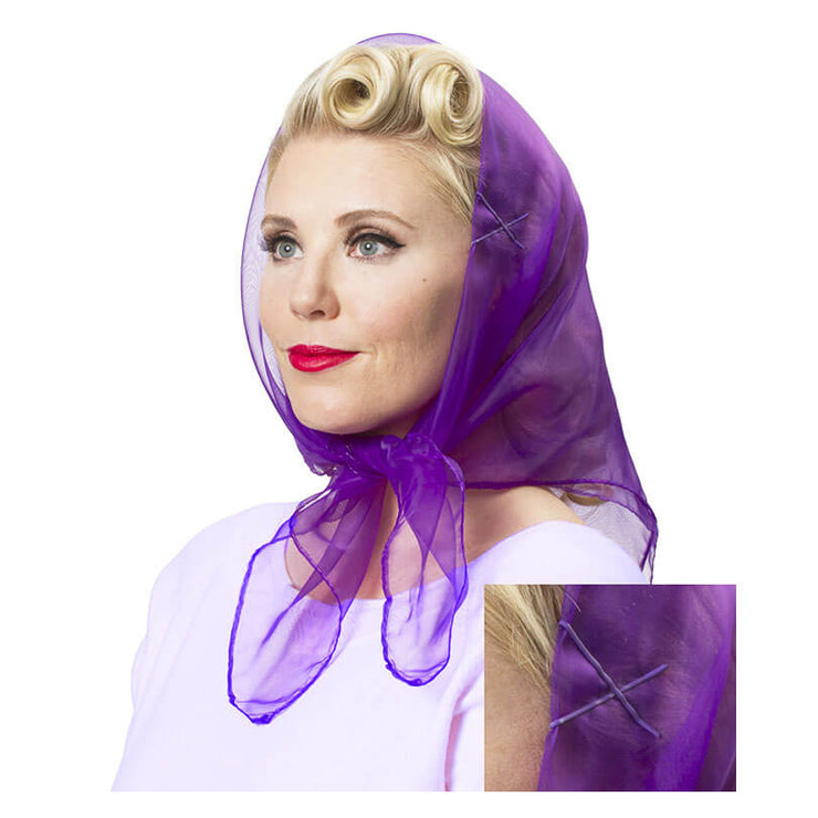 Image of Model wearing Vintage Hairstyling Tidy Tresses Hair Scarf - Deep Purple