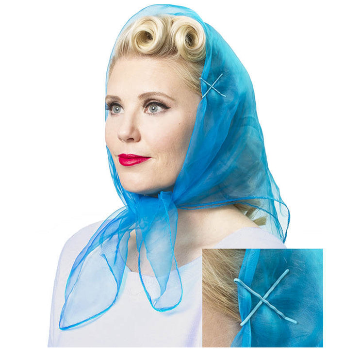 Image of Model wearing Vintage Hairstyling Tidy Tresses Hair Scarf - Electric Blue