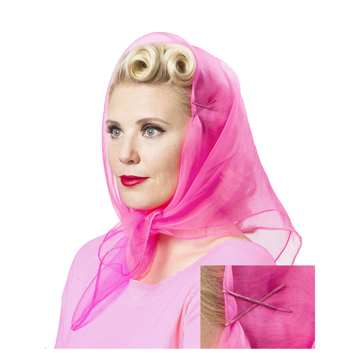 Image of model wearing Vintage Hairstyling Tidy Tresses Hair Scarf - Hot Pink