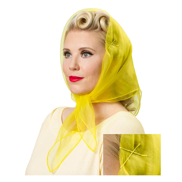 Vintage Hairstyling Tidy Tresses Hair Scarf - Lemon