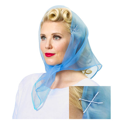 Image of Model wearing Vintage Hairstyling Tidy Tresses Hair Scarf - Powder Blue