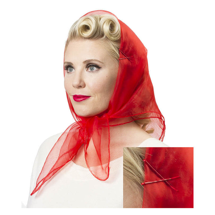 Image of Model wearing Vintage Hairstyling Tidy Tresses Hair Scarf -red