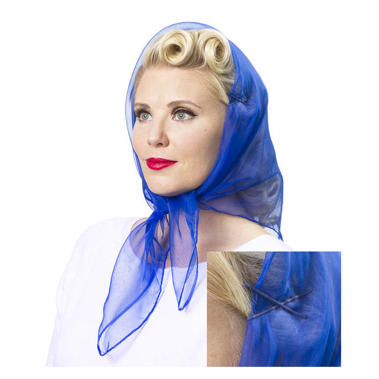 Image of model wearing Vintage Hairstyling Tidy Tresses Hair Scarf - Royal Blue