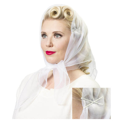 Image of model wearing Vintage Hairstyling Tidy Tresses Hair Scarf - white