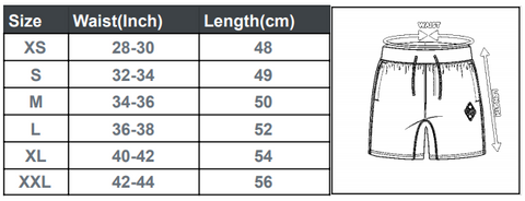 Active Shorts Size Guide