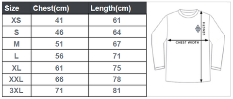Crew Neck Sweater Size Guide