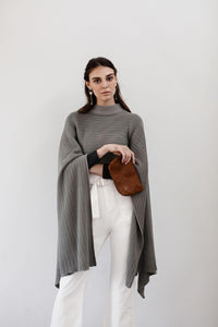 Charcoal grey knitted wrap poncho