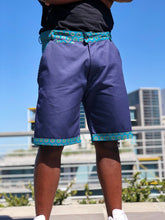 Blue and Green Shweshwe Golf Shorts and Black Shweshwe t shirt