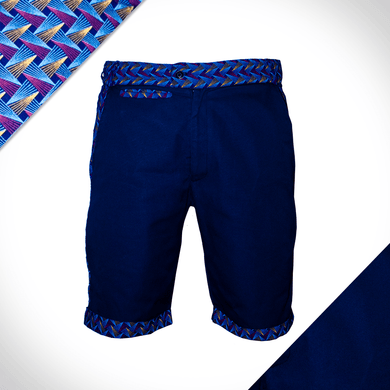accented weave golf shorts with shweshwe