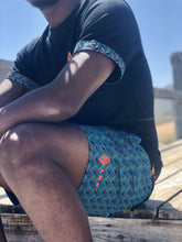 Africa_Made_Only_Green_Shweshwe_black_T_shirt_casual_shorts_8