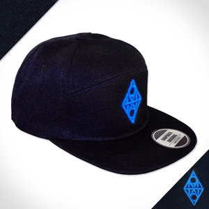 Amo Black & Sky Blue 5 panel flat peak Cap.