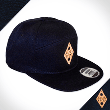 Amo Black & Gold 5 panel flat peak Cap.