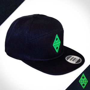 Amo Black & Green 5 panel flat peak Cap.