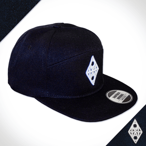 Amo Black & White 5 panel flat peak Cap.