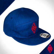 Amo Navy & Burgandy 5 panel flat peak Cap.