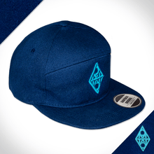 Amo Navy & Teal 5 panel flat peak Cap.