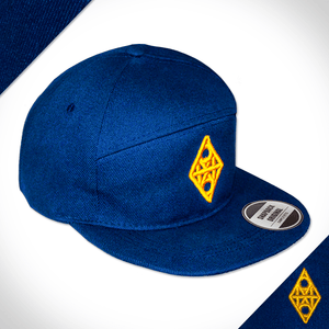 Amo Navy & Yellow 5 panel flat peak Cap.
