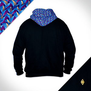 Black Hoodie with blue shweshwe