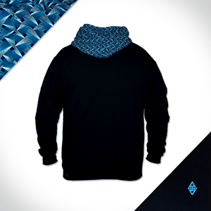 Black Navy Hooded Weave Back