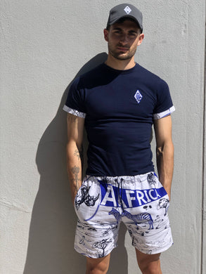 White africa print shorts big 5 blue