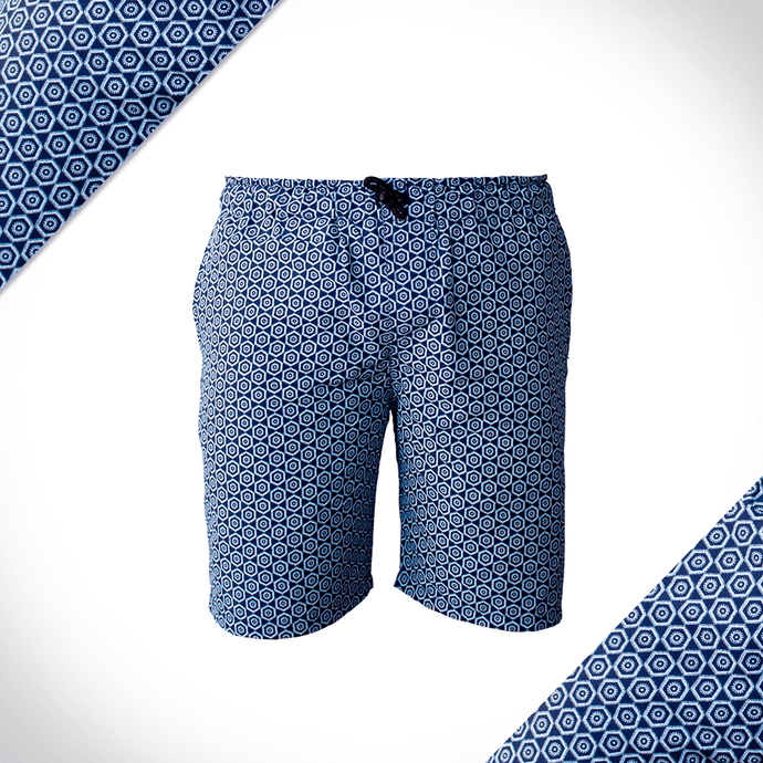 Blue Honeycomb Casual Shorts