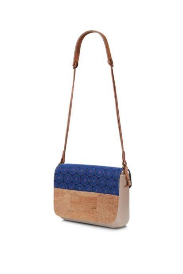 cork & shweshwe clutch bag blue and tan