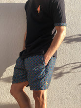 Disco Weave shweshwe cotton t shirt shorts black blue orange africa made only cape town south africa