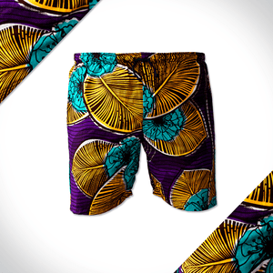 Floral yellow and purple african print shorts