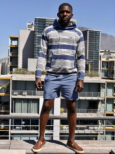 Blue and White stripe Shweshwe hoodie