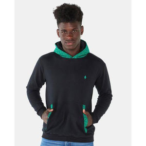 Black and green hoodie with shweshwe