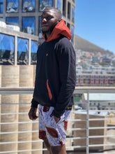 Black and Orange shweshwe Hoodie with Fish shorts