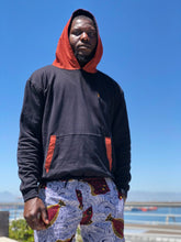 Hoodie Black and Orange Shweshwe With Fish Shorts blue and white