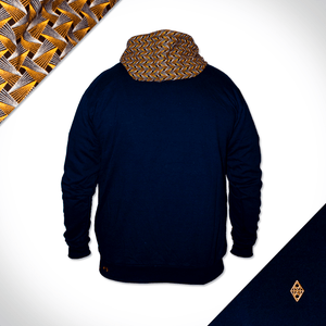 Blue and Gold mens shweshwe Hoodie