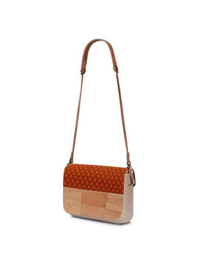 Orange Shwshwe clutch bag with cork