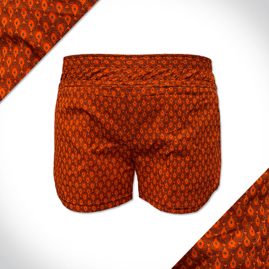 Orange Shweshwe ladies shorts with green shweshwe pattern