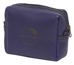 Navy leather bag with shweshwe